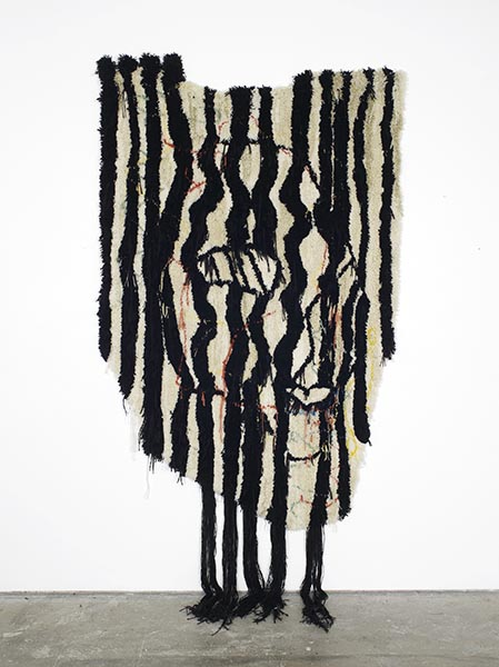 Caroline Achaintre, KLOWS, hand-tufted wool, 270 x 150cm, 2013. A new work kindly donated by the artist and Arcade Gallery.