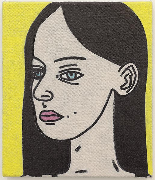 David Austen, Untitled (Woman with dark hair), oil on flax canvas, 30.5 x 25.4cm. A new work kindly donated by the artist.