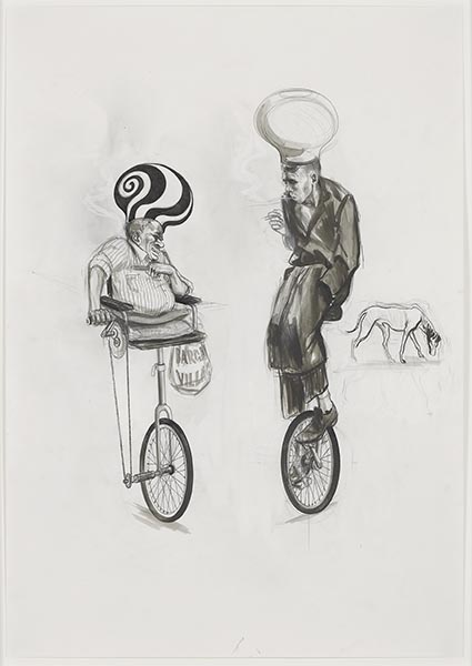 Charles Avery, Untitled (Study no.5 for a cyclist Place de la revolution), pencil and ink on paper, 59.4 x 42cm, 81.5 x 57 cm (framed). Work kindly donated by the artist, Pilar Corrias, London and Grimm Fine Art, Amsterdam.