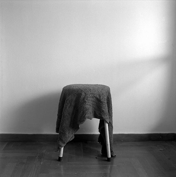Becky Beasley, Stool, Towel, matt gelatin silver print, 127 x 105 cm (unframed), 2006. Work kindly donated by the artist and Laura Bartlett Gallery, London.
