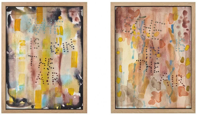 Christina Mackie, She 8/9, acrylic compound and ink, 145 x 9cm, watercolour on paper, wax, each 31 x 32cm. Work kindly donated by the artist.