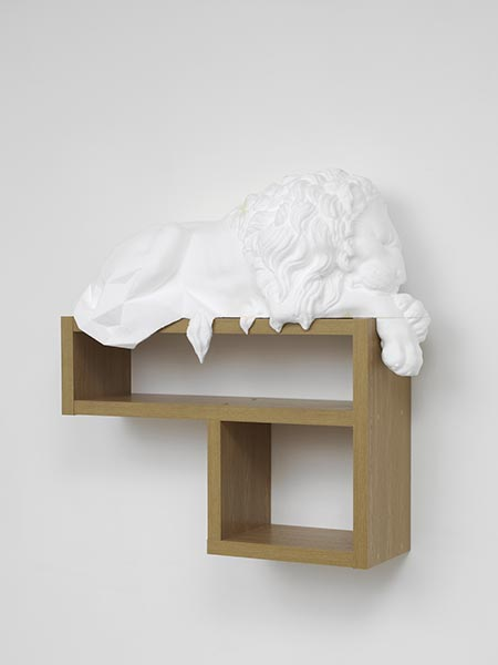 Matthew Darbyshire, Standardised Form No.3 (lion), 2013, 3D model in polystyrene on artificial wood support, 97 x 97 x 36cm, AP, edition of 2 + 1 AP. A new work kindly donated by the artist and Herald St.