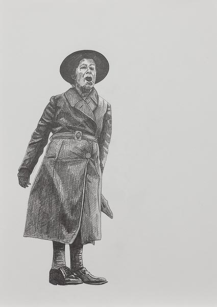 Olivia Plender, Sylvia Pankhurst Protesting, pencil on paper, 2013. Courtesy the artist.