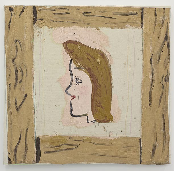 Rose Wylie, P.C. with Frame, oil on canvas, 73 x 75 x 4cm, 2013. A new work kindly donated by the artist and Union, London.
