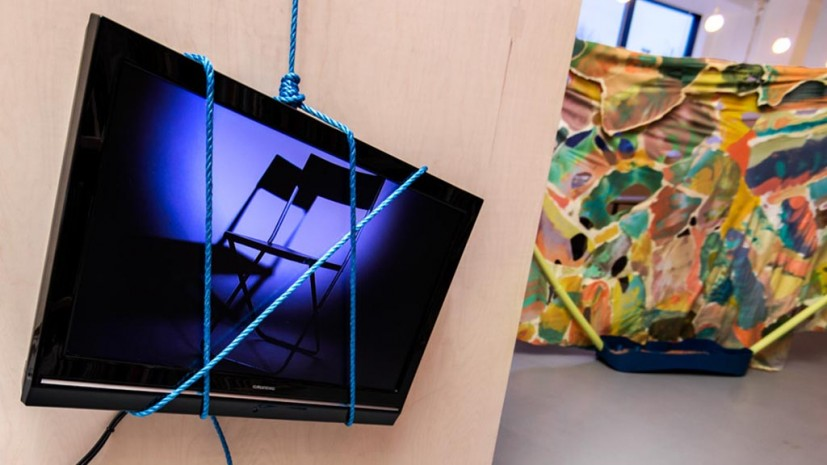 Francesco Pedraglio, mhhhh... ohhhh, 2012. Video installation, cement, rope, video, 4 minutes 30 seconds. Photo: Joe Plommer