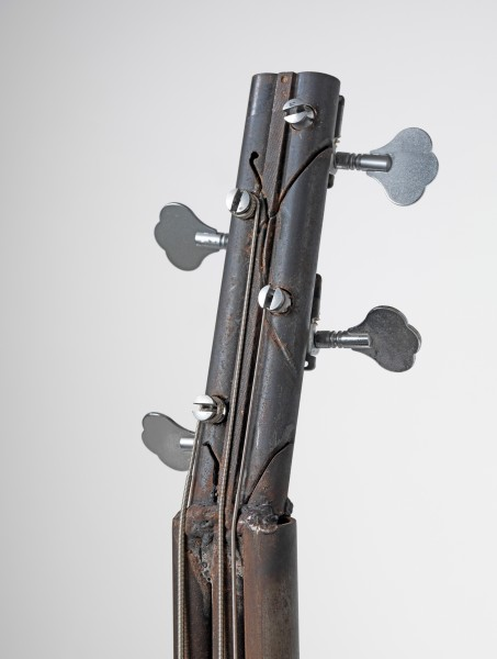 Pedro Reyes, Imagine (Bass Guitar Bass), 2012. Recycled metal, 113 x 36 x 10cm. ed.unique. Courtesy the artist and Lisson Gallery