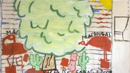 Rose Wylie, Brad's Art (film note), 2012. Oil on canvas, 181 x 275 cm. Courtesy by the artist and UNION Gallery, London
