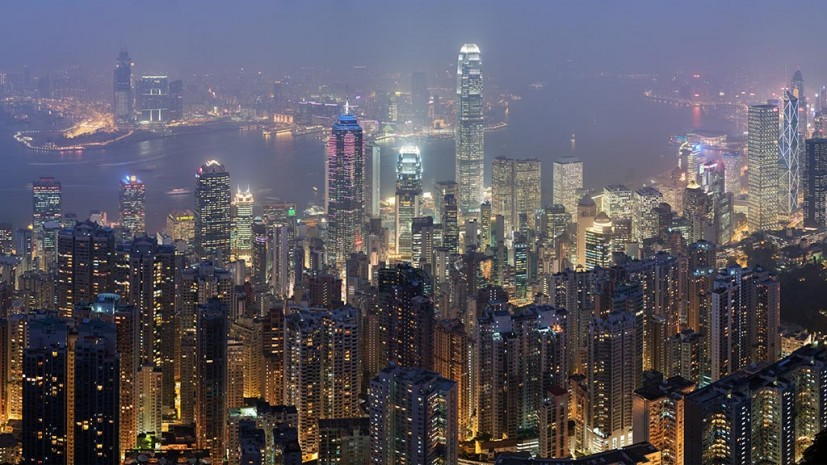 Hong Kong skyline, taken from Lugard Road at Victoria Peak. Image courtesy Wikipedia.