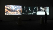 Sophie Clements, There After, 2011, digital video triptych, infinite loop installation view, 2013. Image courtesy the artist and Man&Eve.