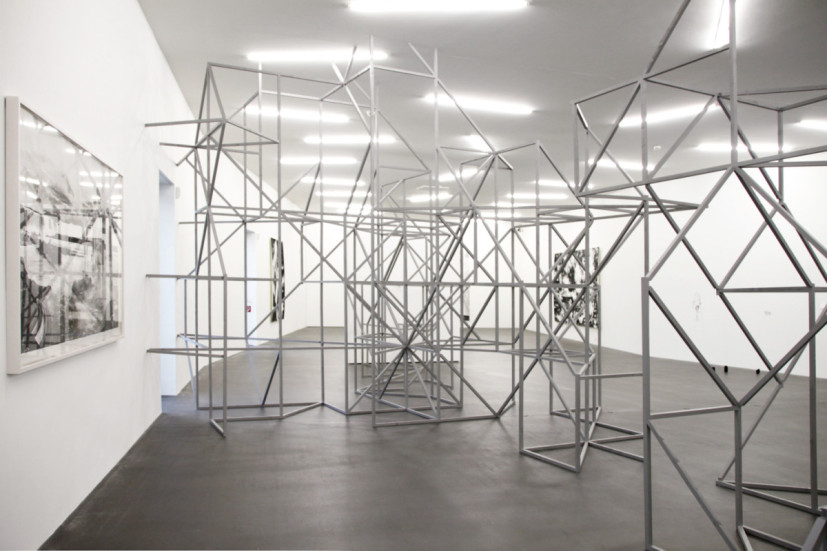 Weltenwürfe, installation view, Kunsthaus Grenchen, Switzerland 2014. PARA/SITE collaborative site-specific installation: painted wood, drawing left: At The End Of The Day (Nothing But Souvenirs), ink on paper, 113 x 204cm, 2012. Image courtesy the artist, © the artist