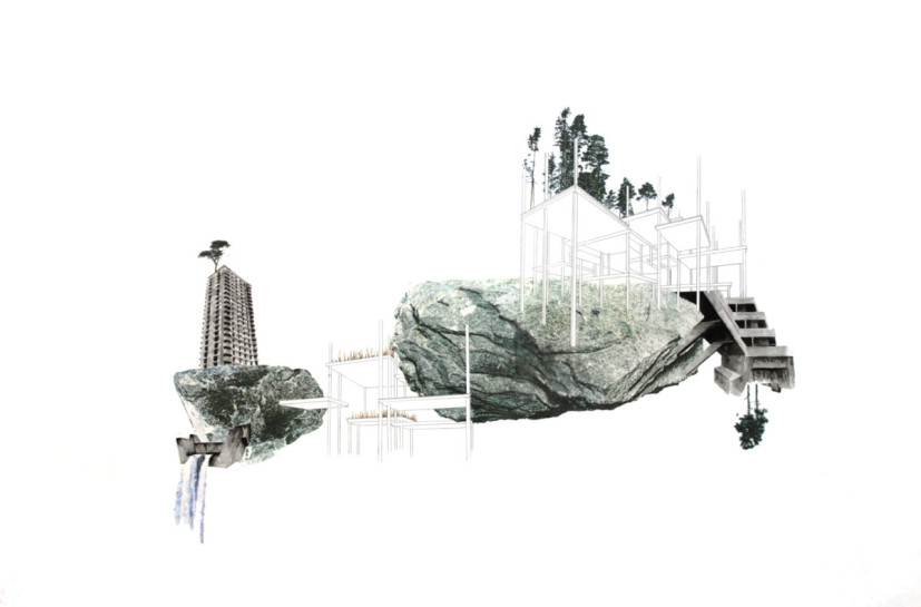 Terrain Vague.23, ink, pencil and pigment transfer on paper, 75 x 112cm, 2013.  Image courtesy the artist, © the artist