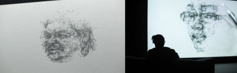 'Skill' is a film in 12 parts, focusing on Goodwin's encounters with 12 people. Each person has a hands-on, specialist skill, ranging from tattooing, to woodturning, to pigeon fancying. Skill encapsulates the drawings Goodwin made observing each person at their endeavours with the conversations that took place. The film and the drawings are a celebration of dexterity and commitment, capturing a shared deftness of hand and mind as each person transforms the materials they work with. For its exhibition at MIMA the original drawings were shown alongside the film. 2014, © the artist.
