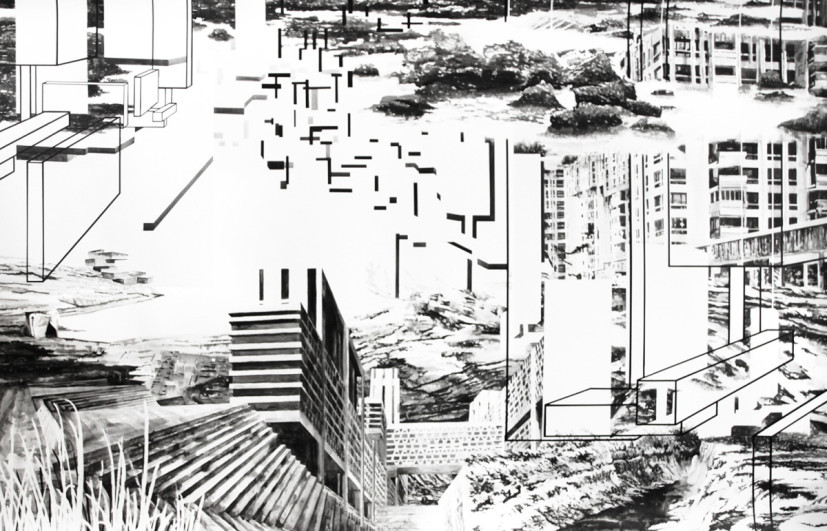 Future Archaeologies, ink on paper, 140 x 220 cm, 2015. Image courtesy the artist, © the artist