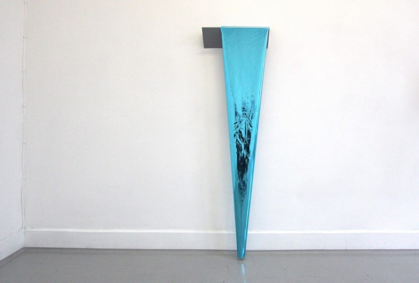 The First Dive, 2013, metal, paint, heat transfer foil, 140 x 42 x 10cm, © the artist