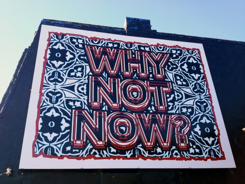 Why Not Now?, enamel on board, steel framework, 2012, installed Toronto. © the artist