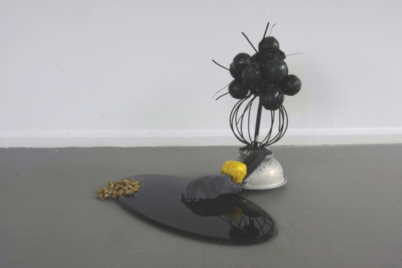 Still Life AKA (self) relection, 2008, black perspex, colander, cable ties, bin bag, plastic balls, lamp stand, tape, sock, dandelions and PVA glue, 60 x 70 x 65cm, © the artist