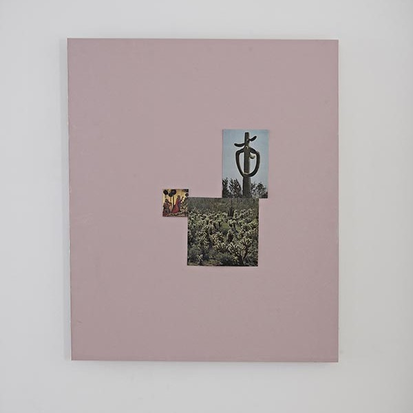 Untitled (Cactus God), 2013, heat resistant plasterboard, found image, dressmaker pins, 100 x 120cm. Photo: David Lawson. Image courtesy of the artist and Workplace Gallery, UK