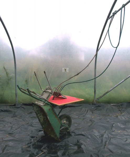 Membrane, 2008, wheelbarow, pin board, chair, fork and plastic pipe, dimensions variable, © the artist