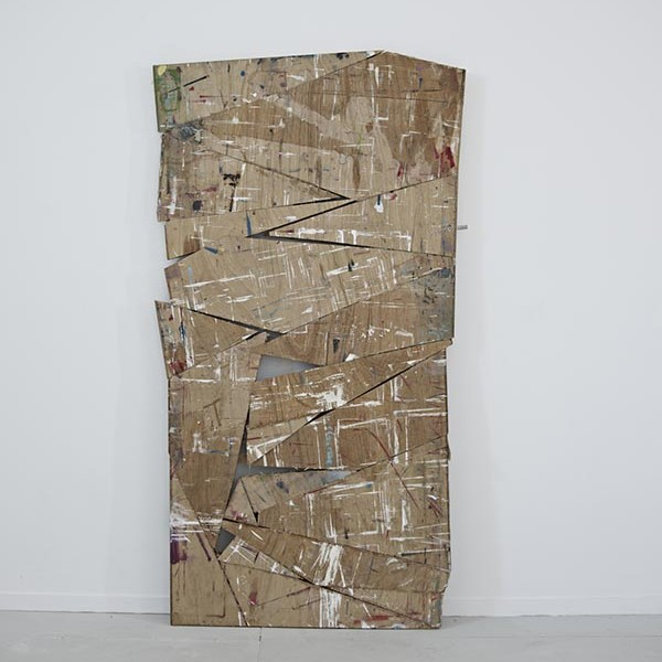 Untitled (Studio Door), 2013, door, oil paint, turps, primer, glue, 61 x 198cm. Photo: David Lawson. Image courtesy of the artist and Workplace Gallery, UK