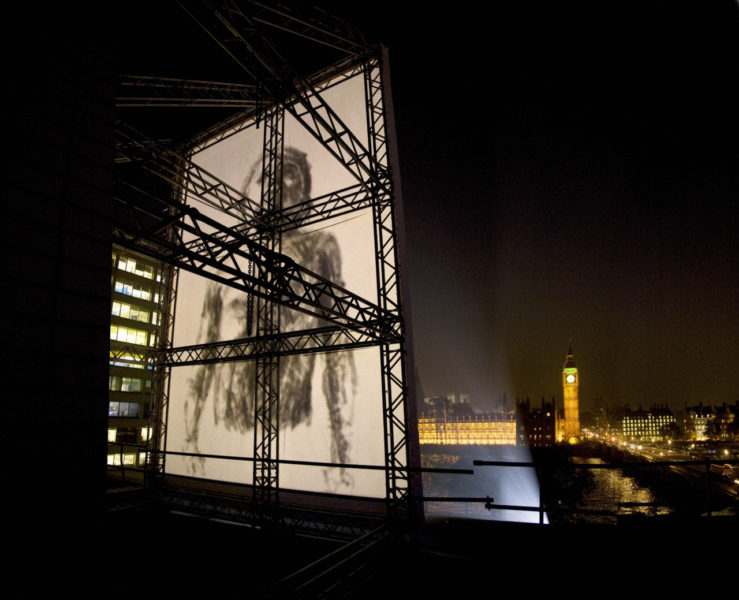 'Breathe', a large-scale projection, animating over 1,300 pencil drawings of Goodwin's 5-year-old son, projected next to Westminster bridge, opposite the Houses of Parliament, commissioned by Invisible Dust, 2012, © the artist.