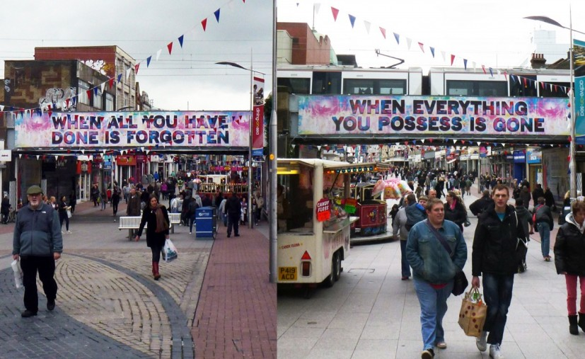 Ends Thou, 2012, installed at Southend High Street. Commissioned by Focal Point Gallery, Southend. © the artist