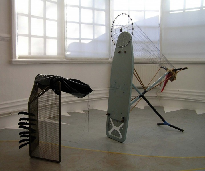 Penetration, 2006, ironing board, tights, bin bag, fireguard, plastic 'kids' knives, thread, tape, metal frame, watering can and clips, dimensions variable, © the artist