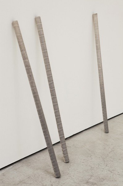 A.C.R.O.N.Y.M, 2013, snakeskin, aluminium tube, 100 x 3.5 x 3.5cm each (dimensions variable). Snakeskins have been applied to sections of metal tube. © the artist, courtesy the artist and All Visual Arts.