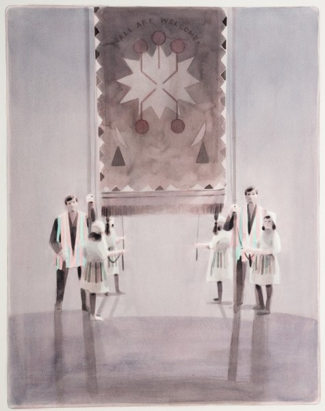 All Are Welcome, 2013, ink and oil on paper, 63 x 50cm. Image courtesy the artist, © the artist