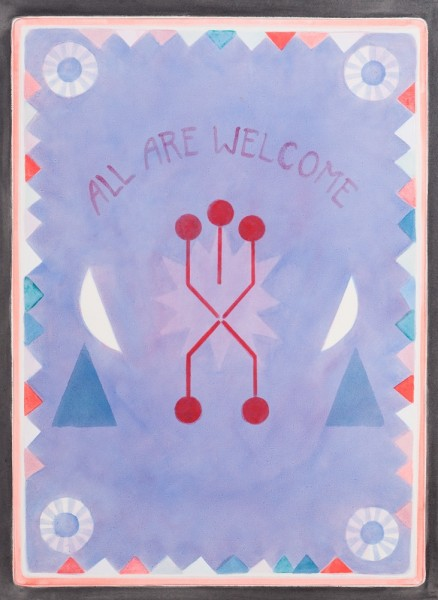 Banner, 2013, fluorescent pigment and oil on paper, 71 x 53cm. Image courtesy the artist, © the artist