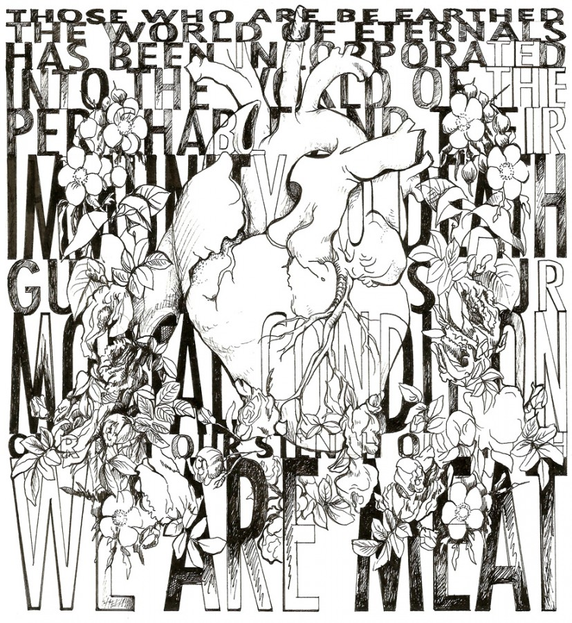 We Are Meat, ​ink on paper,  20.5 x 22cm, 2008, © the artist