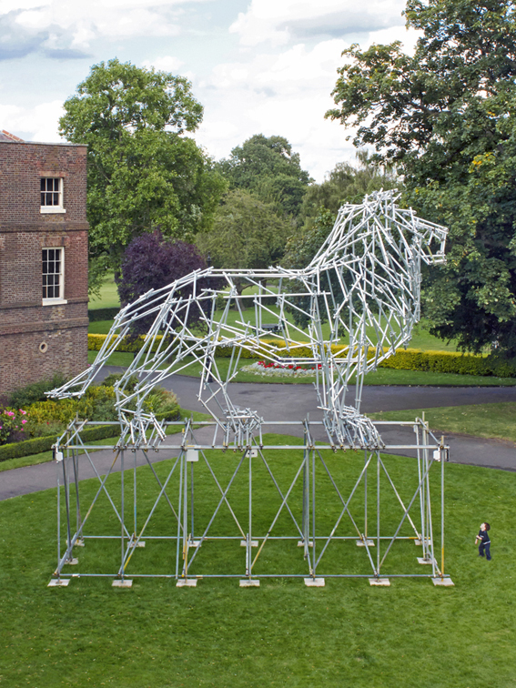 Lion Scaffolding Sculpture, 2012, scaffolding construction, 1013 x 341 x 906cm, installation view, Bruce Castle Museum, London, commissioned by UP Projects in partnership with Haringey Council, © the artist