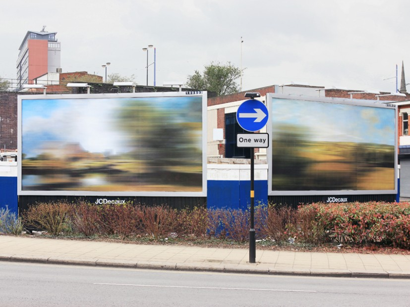 Moving Landscapes – Dedham Lock and Mill & The Stour Valley (after John Constable), 2012, digital print on advertising billboard, both 610 x 305cm, installation view, Old Snow Hill, Birmingham. Commissioned by EC Arts, © the artist