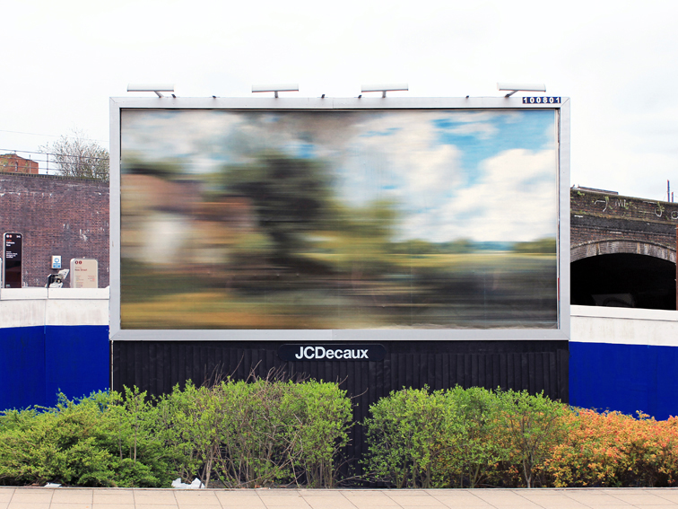 Moving Landscapes – The Hay Wain (after John Constable), 2012, digital print on advertising billboard, 610 x 305cm, installation view, Old Snow Hill, Birmingham. Commissioned by EC Arts, © the artist