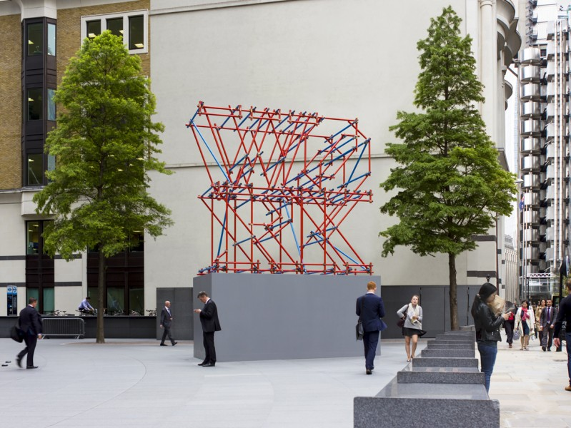 Work Scaffolding Sculpture, installation view, 2014, scaffolding construction, 504 x 256 x 683cm, The Gherkin – 30 St Mary Axe, London. Commissioned by Sculpture in the City 2014. image courtesy the artist