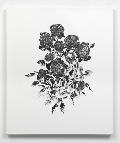 Daphne, Japanese tourmaline and onyx black in watercolour on stretched watercolour paper over polyester, 90 x 75cm, 2014. Image courtesy the artist, © the artist