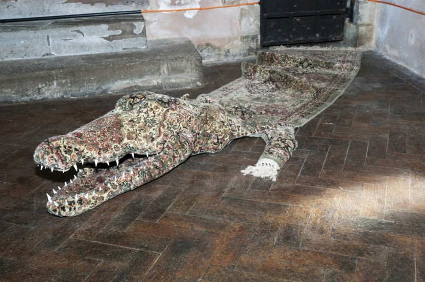 Persian Crocodile, 260 x 100 x 30cm, carpet and mixed media, 2011, Collection Nottingham Castle Museum & Gallery, image courtesy Nottingham Castle Museum & Gallery, photo John Hartley 2013, © the artist