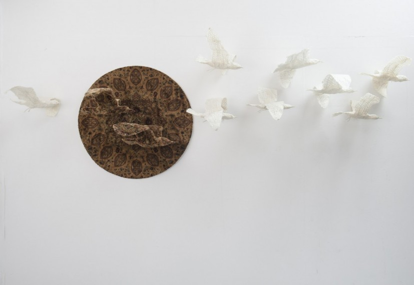 Seagulls and the Sun, dimensions variable, carpet, masking tape and mixed media, 2013, photo James Royall, © the artist