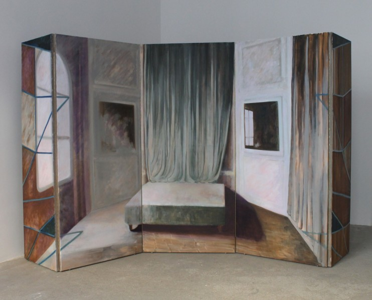 Exit M.C, 2014, oil on linen, 340 x 180cm (folding screen), image courtesy the artist and Vane, © the artist