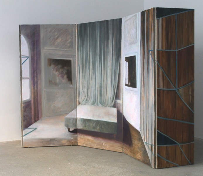 Exit M.C (side view), 2014, oil on linen, 340 x 180cm (folding screen), image courtesy the artist and Vane, © the artist