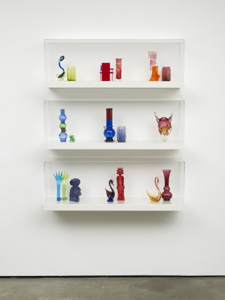 Image: Matthew Darbyshire, Untitled: Shelves No. 9, 2011. Various glass and plastic components, shelving units, and perspex cases, 140 x 110 x 30 cm. Courtesy the artist and Herald Street, London.