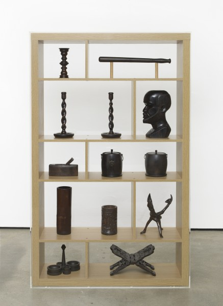 Image: Matthew Darbyshire, Untitled: Asymmetrical Shelf Display No. 3, 2013 Antique wooden artefacts displayed upon wood-effect support, perspex case, 162 x 102 x 31 cm. Courtesy the artist and Herald Street, London.