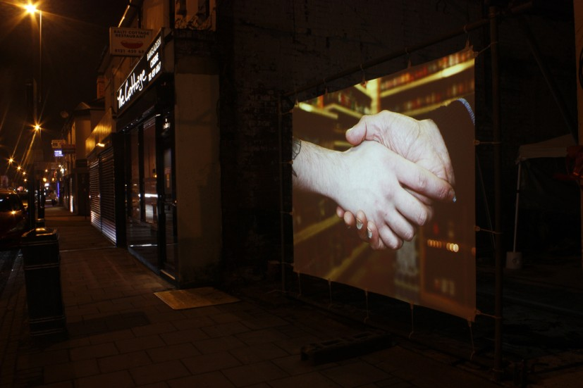 Hand in Hand, temporary site-specific installation on Pershore Road, Stirchley, Birmingham commissioned by Place Prospectors, 2013 © the artist