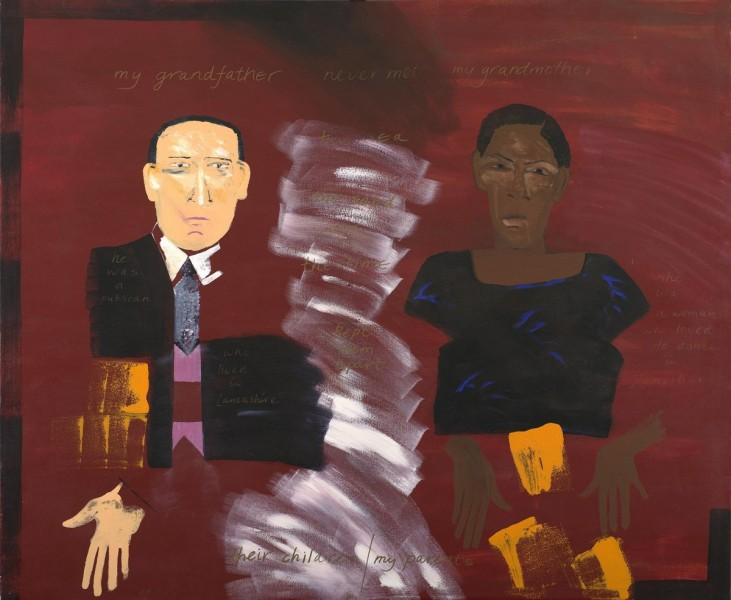 My Parents, Their Children, acrylic on canvas and mixed media, 151 x 184cm, 1986. Image courtesy the Birmingham Museums Trust, © the artist.