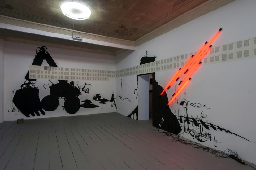 Mabb and Schrat, installation at LoBe, Berlin 2013, including 'The Wood Beyond the World' and 'Red Rocket' by David Mabb