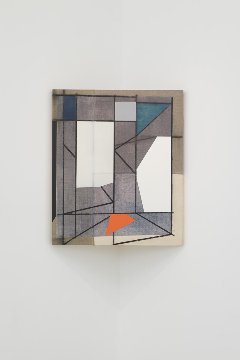 OGVDS [tilted] A, 2012, acrylic, charcoal, oil paint, watercolour and wax on sewn canvas on wood, 76 x 64 cm, image courtesy the artist and Hales Gallery, London