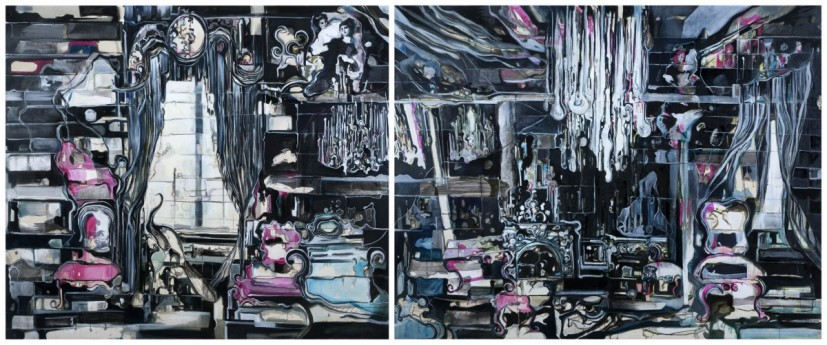 Off the Wall, mixed media on canvas, diptych, 160 x 180cm and 160 x 200cm, 2014. © the artist, photo courtesy the artist