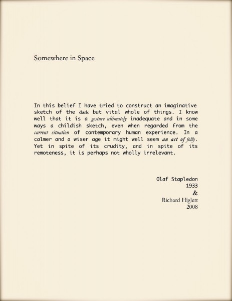 Somewhere in Space, 2008, inkjet print, edition of 10, 21 x 30cm (30 x 42cm frame size), © the artist