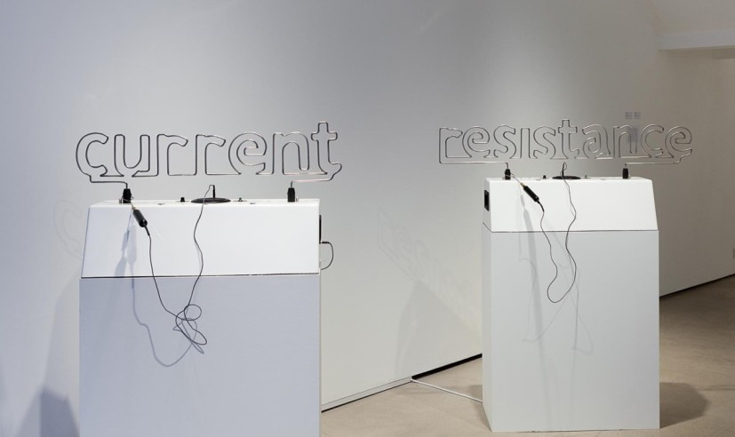 The Current Resistance, mixed media participatory sculpture (Buzzwire), dimensions - current: 75 x 35 x 55cm, resistance: 75 x 35 x 55cm, 2014. Photograph by Susanne Hakuba, image courtesy Kashya Hildebrand, London