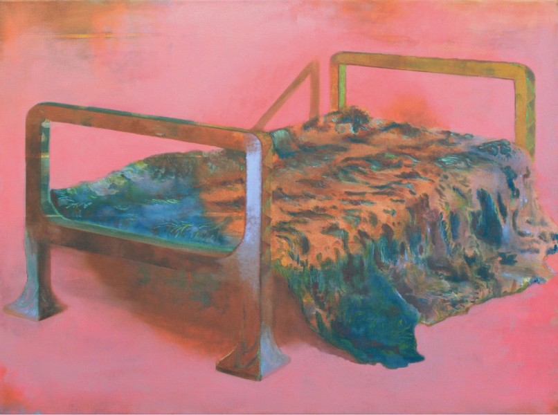 Un-named daybed, oil and tempera on canvas, 65 x 80cm, 2012, image courtesy the artist and Vane, © the artist