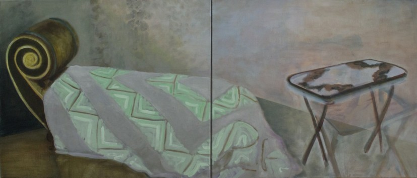 Furniture Conversation, oil on linen, diptych, 174 x 74cm, 2014, image courtesy the artist and Vane, © the artist